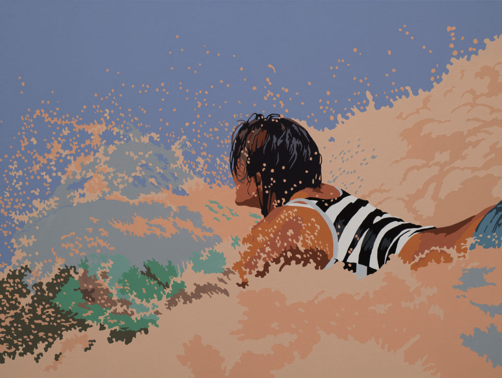 contemporary painting of a girl surfing by billy schenck | Felder Gallery