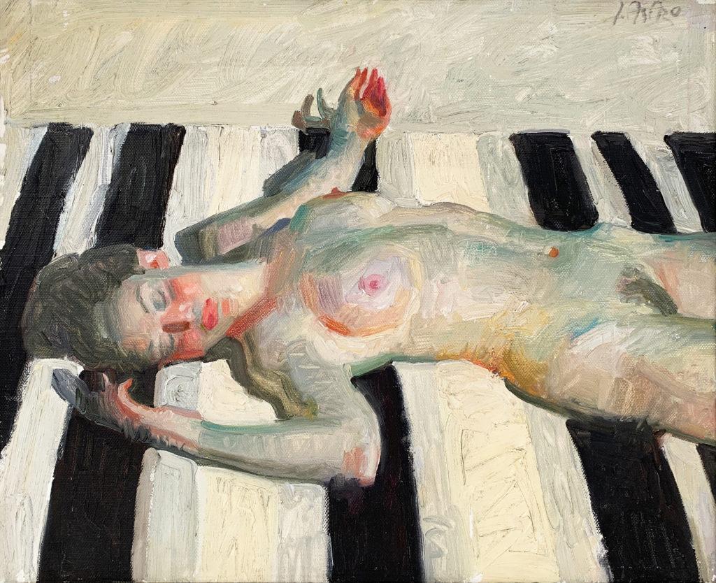figure painting of woman on a beach by john asaro | Felder Gallery