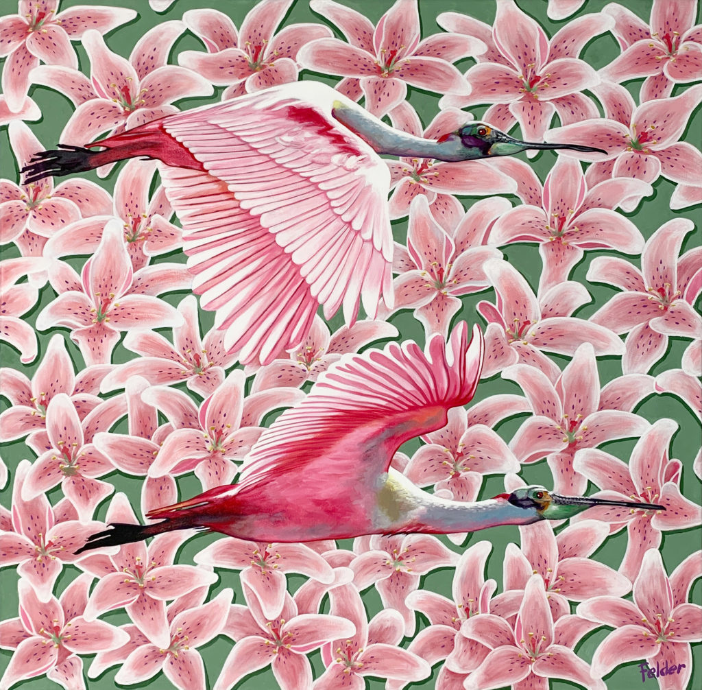 pink oil painting of birds by larry felder | Felder Gallery