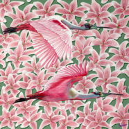 pink oil painting of birds by larry felder | Felder Gallery