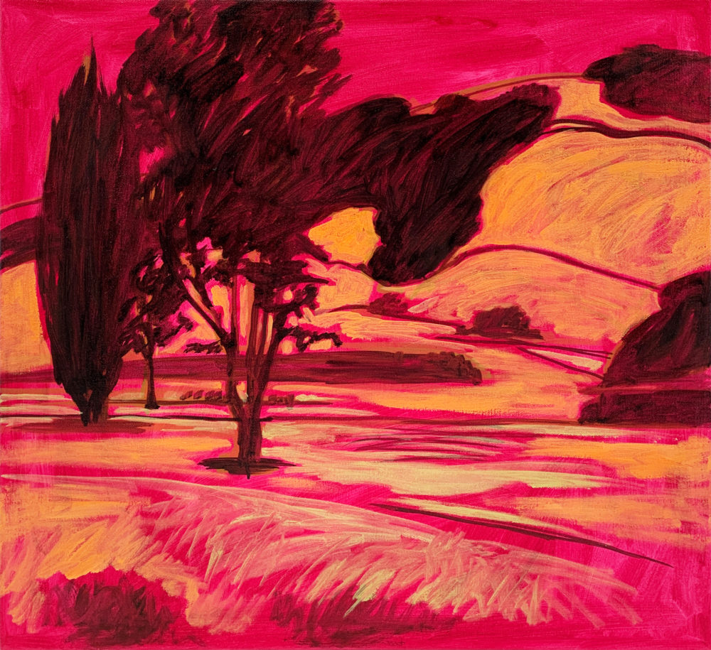 orange and red oil paintin of absract landscape by Elizabeth Payne | Felder Gallery