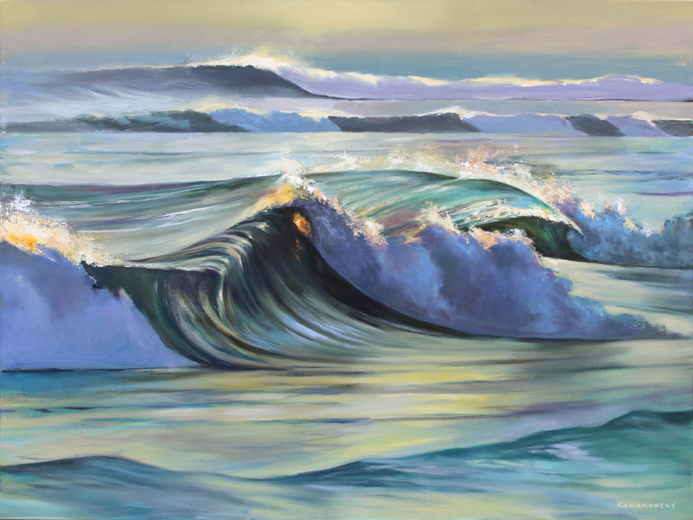 realistic painting of waves by wade koniakowsky | Felder Gallery