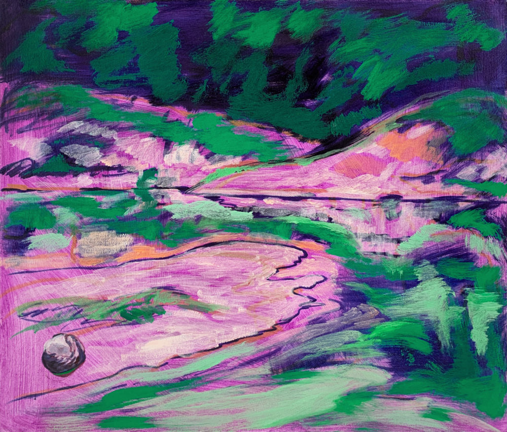 purple and green oil painting by elizabeth payne   Felder Gallery
