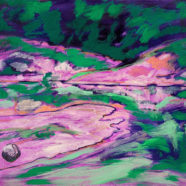 purple and green oil painting by elizabeth payne | Felder Gallery