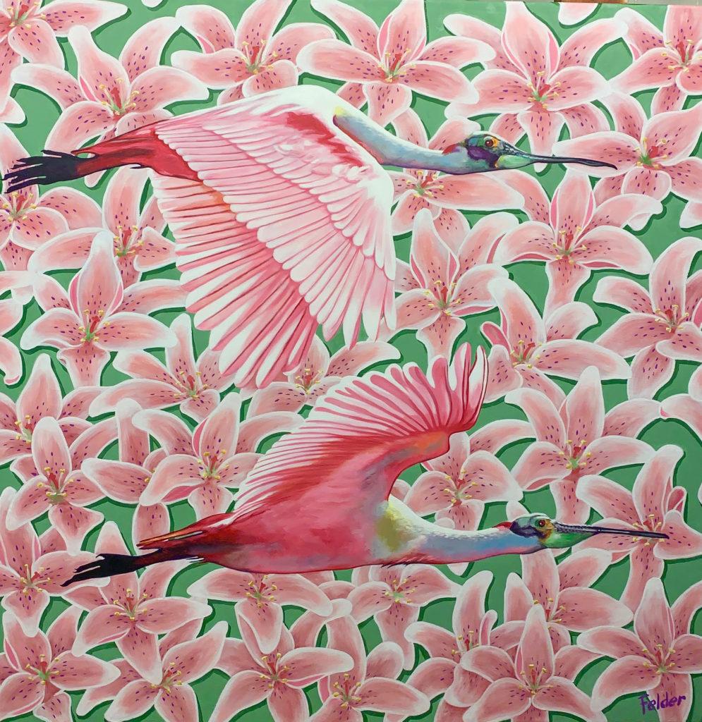 pink oil painting of birds by larry felder   Felder Gallery