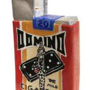 wood sculpture of cigarette pack by rick kroninger | Felder Gallery