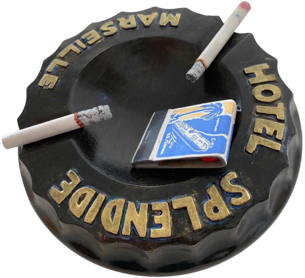 wood sculpture of ashtray by rick kroninger | Felder Gallery