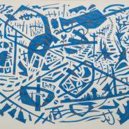 blue tape painting by jimmy leflore | Felder Gallery