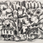 charcoal abstract drawing by james leflore | Felder Gallery