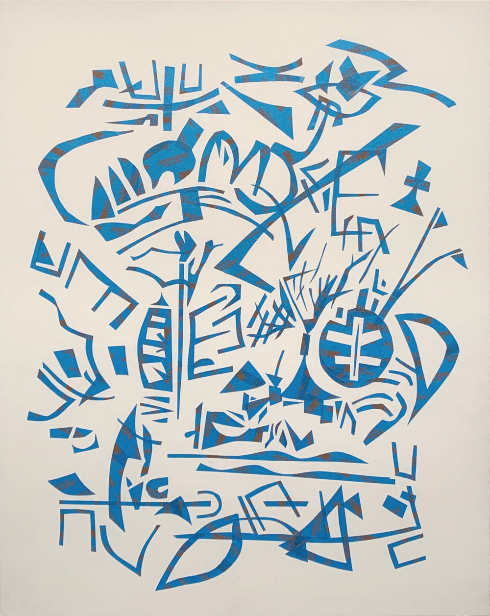 abstract blue tape drawing by james leflore | Felder Gallery